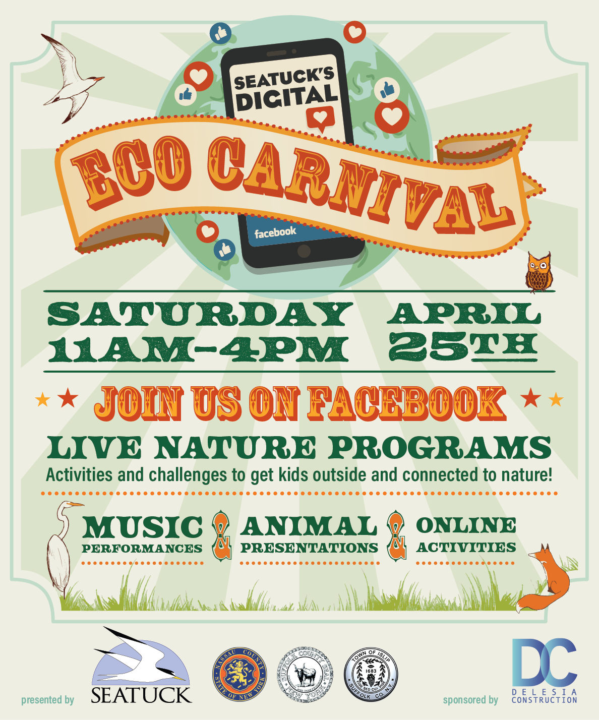 A flyer announcing the digital eco carnival event with musical performances, animal presentations and online activites for kids