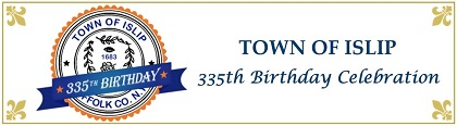 A Banner image with the Blue and Orange Town of Islip Seal with a 335 birthday ribbon across it, asking all to join in the year-long celebration