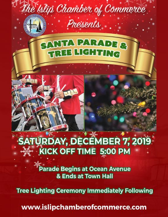 A flyer announcing the Islip Holiday Light Parade. Details in the text above.