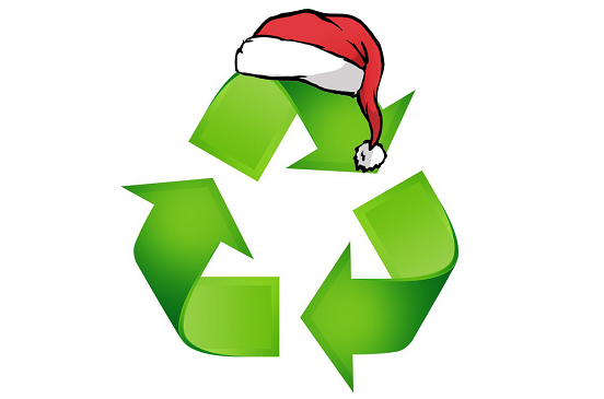 The recycling 3 arrow in the shape of a triangle logo with a santa hat on top.