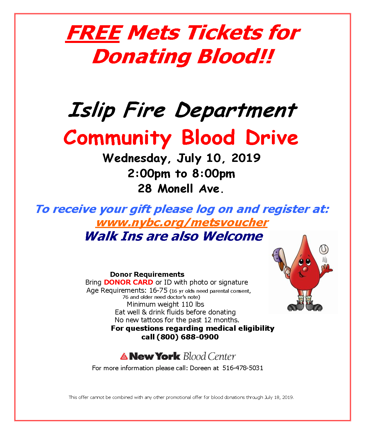 A flyer announcing free Mets tickets at the July 10th IFD Blood Drive, call 516-478-5031 for more information