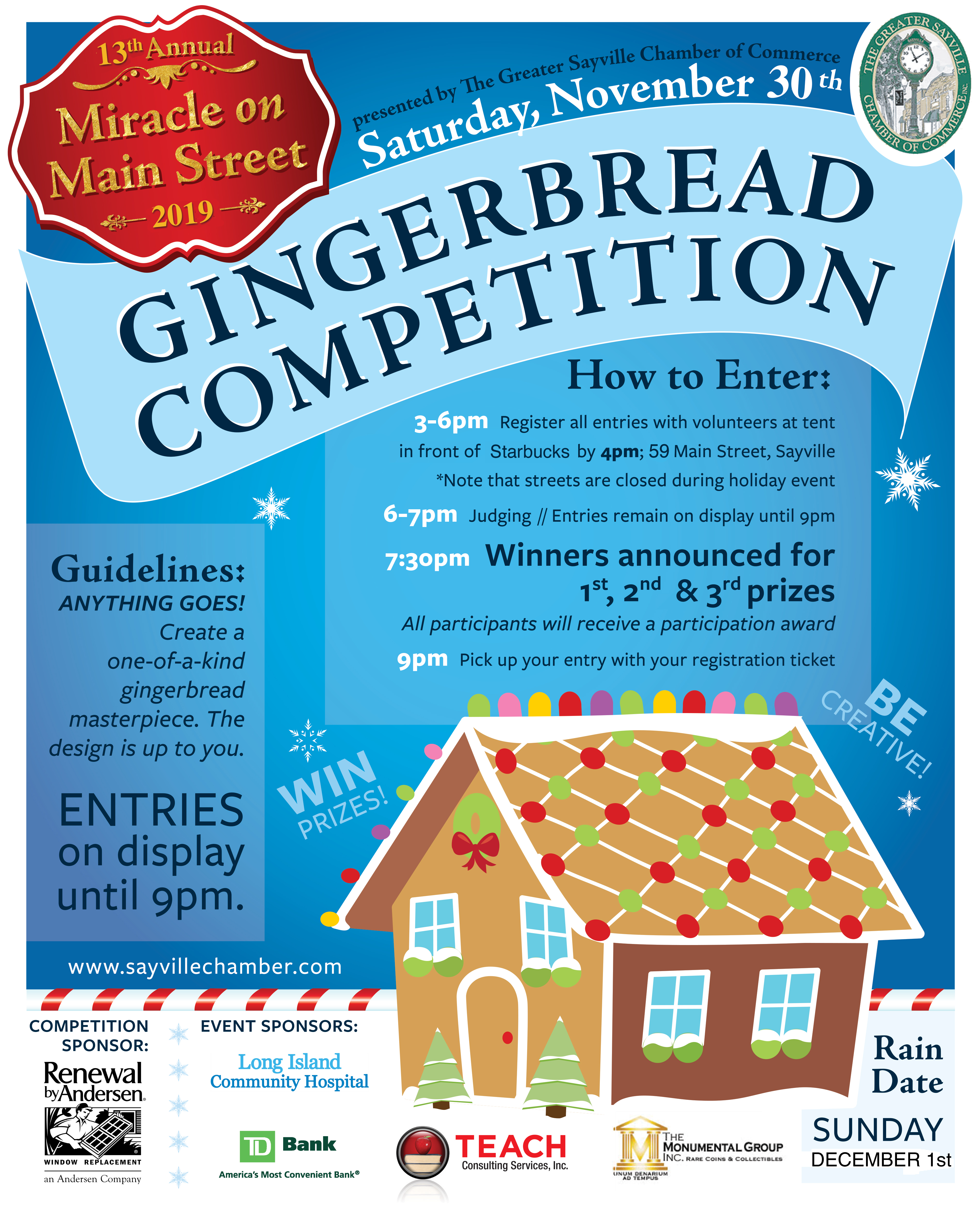 A flyer announcing the Gingerbread competition taking place during the 13th annual miracle on main street event. Details in the article.
