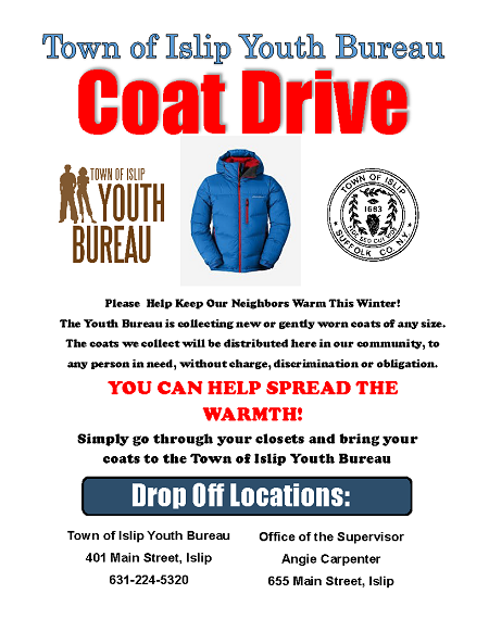 A flyer announcing the coat drive for the 2019 year. Details in article.