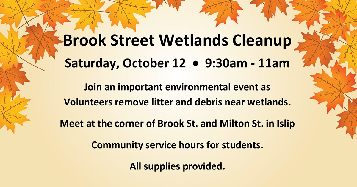 A flyer of yellow background with orange and gold fall leaves on the top border, announcing the Saturday, October 12th Cleanup of the Brook Street Wetlands.