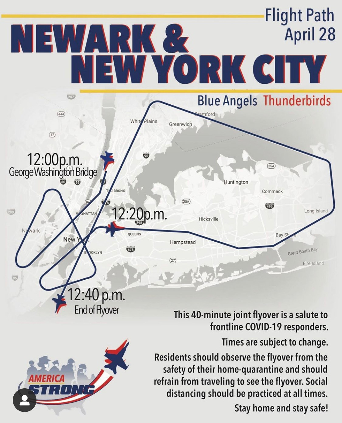 Flyer announcing flight path of fly over air show supporting COVID-19 responders