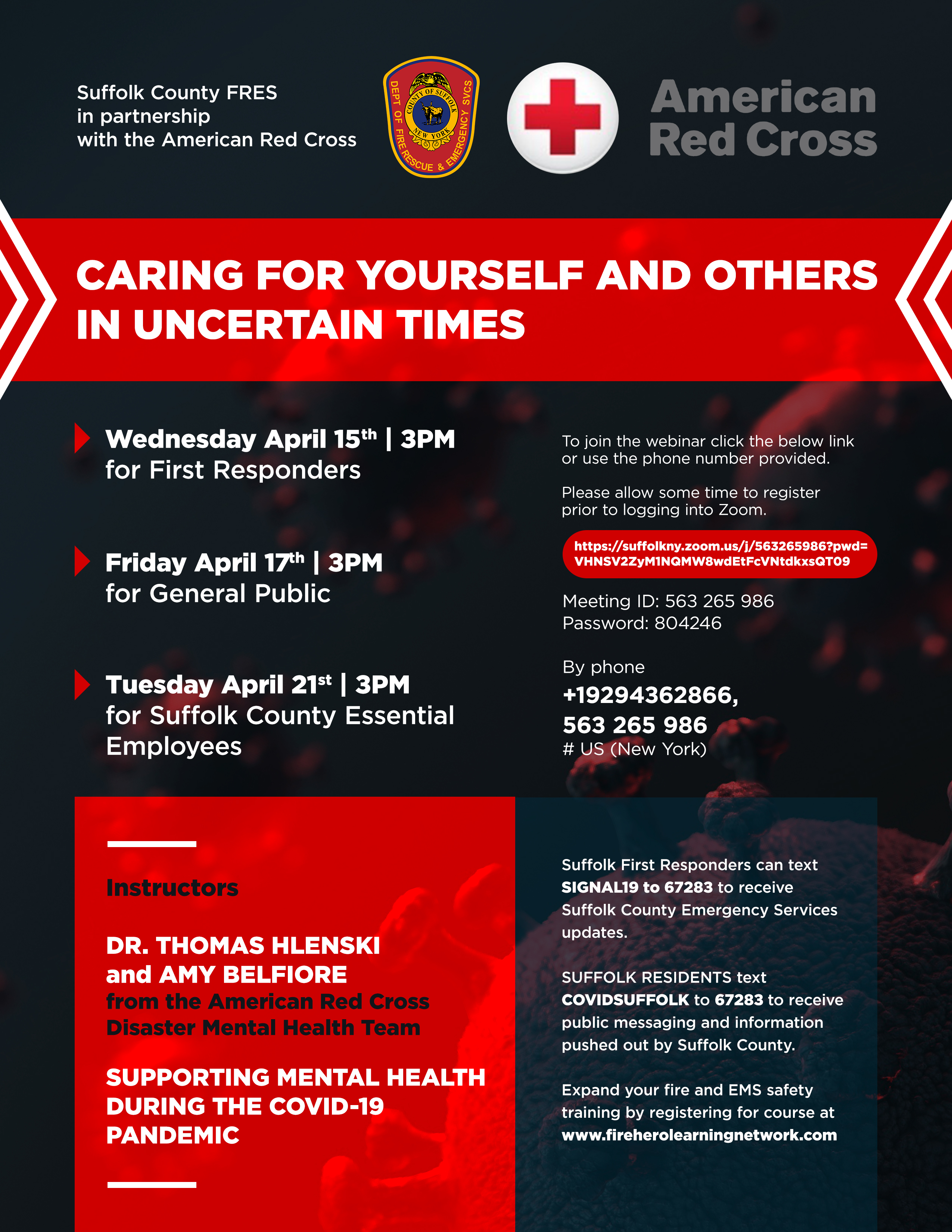 flyer announcing the Red Cross webinars. Details in text
