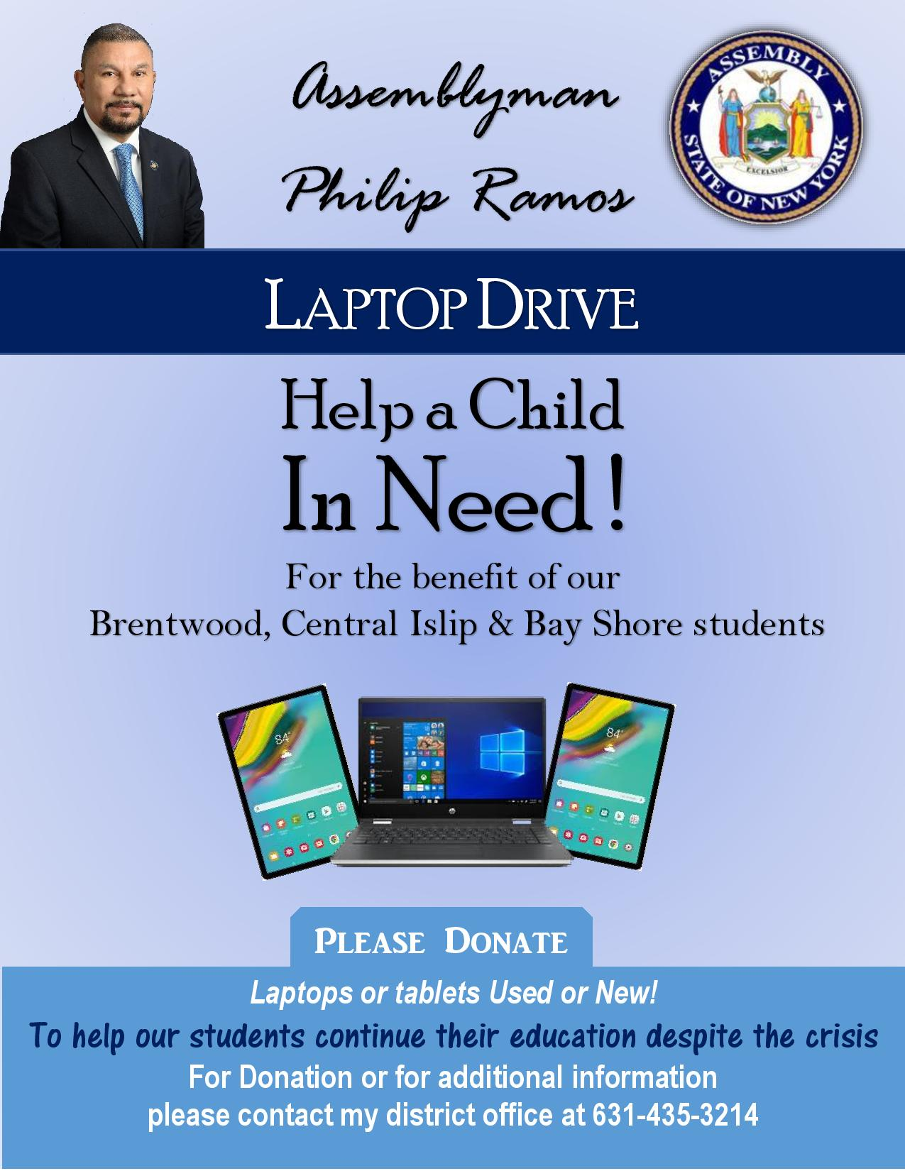 An image asking for the donation of laptops and tablets for students
