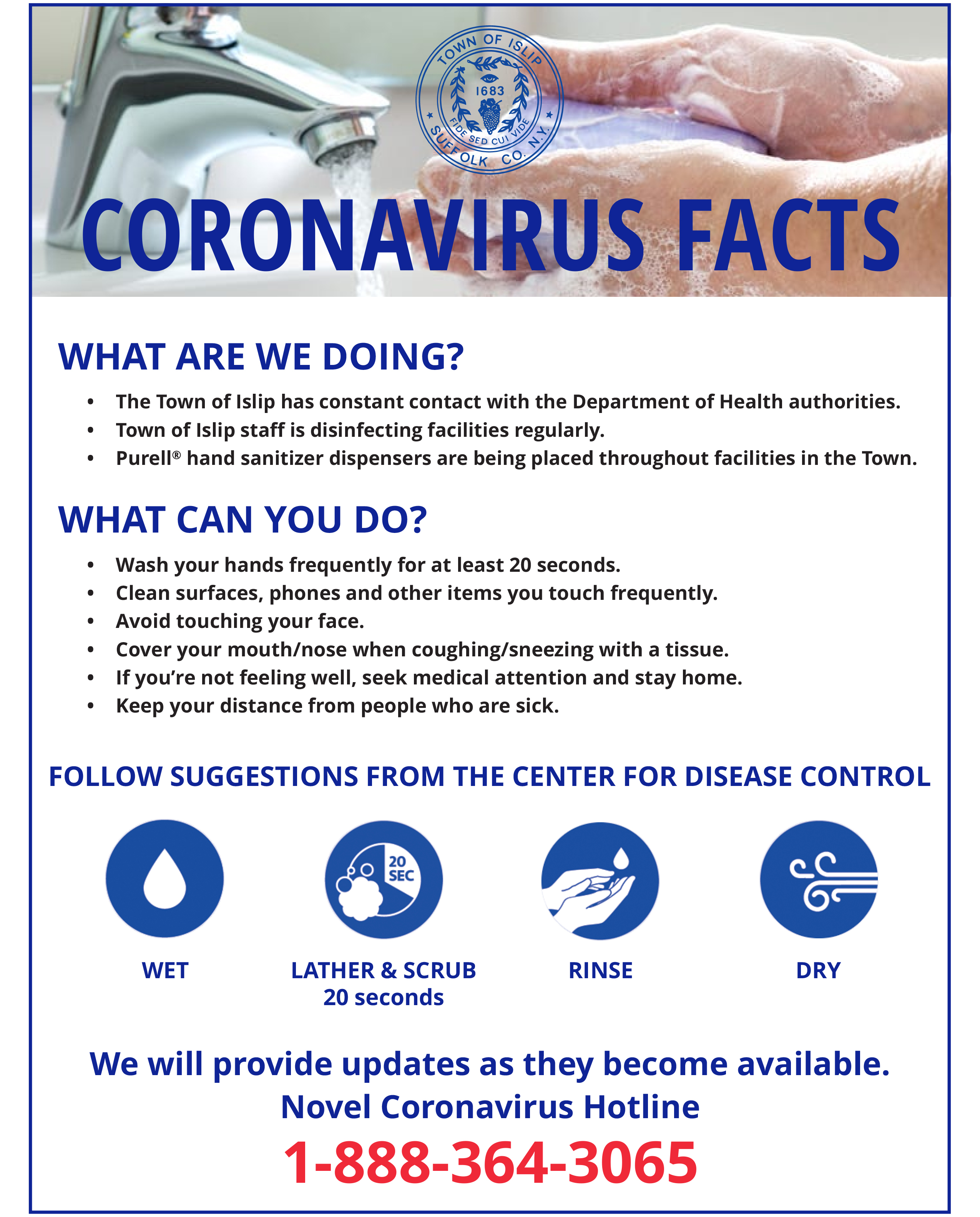 a flyer for novel coronavirus facts, call the hotline at 1-888-364-3065 for more information