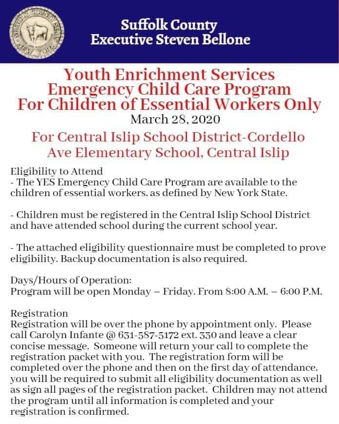 flyer announcing essential workers eligible for child care, call 631-587-5172 ext. 330 for more info