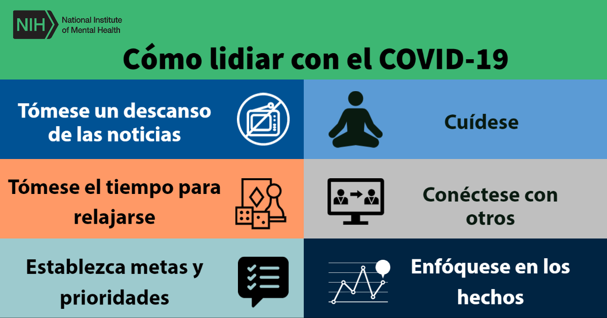 Flyer outlining  6 ways to cope with mental health in Spanish
