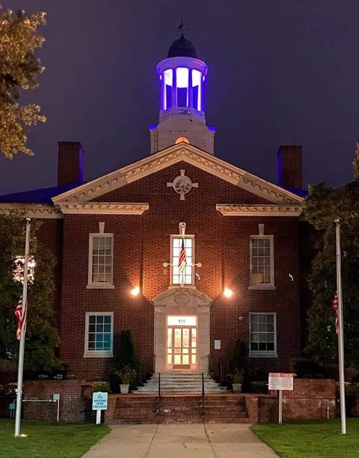 Town Hall Cupola In Purple