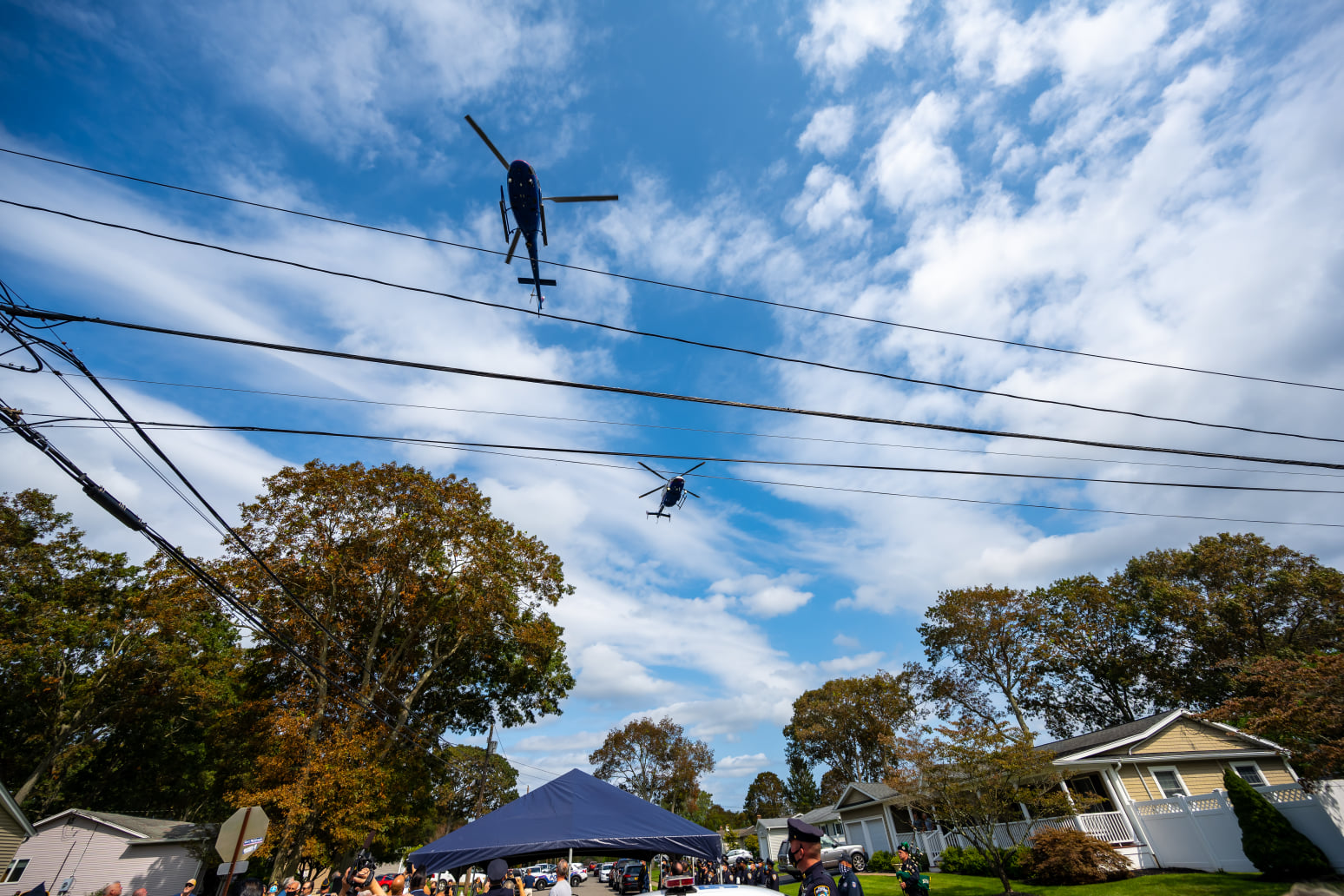 A helicopter fly over helps commemorate