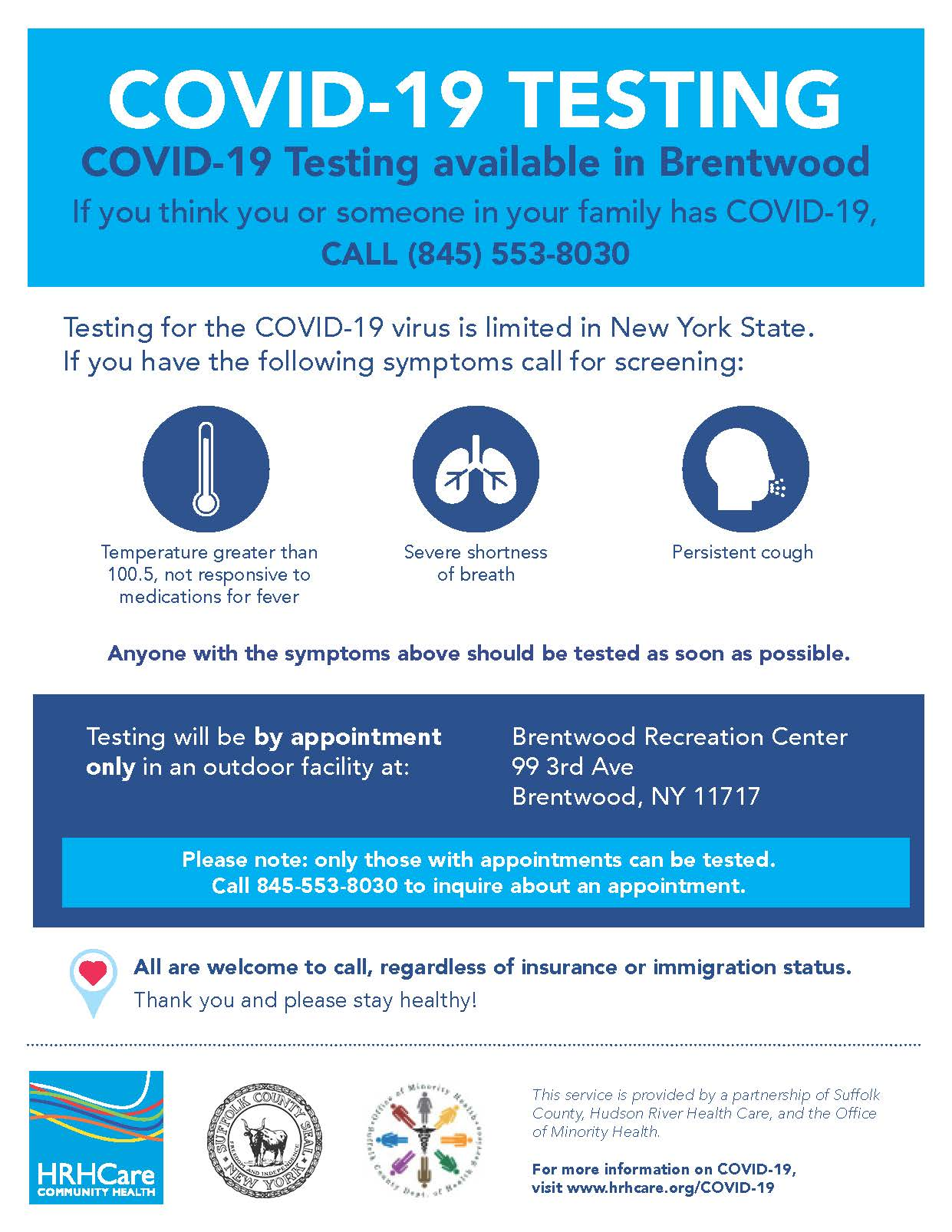 flyer announcing Brentwood testing site for COVID-19 at Brentwood Rec Center, 99 3rd Avenue, call 845-553-8030 to inquire about appointments
