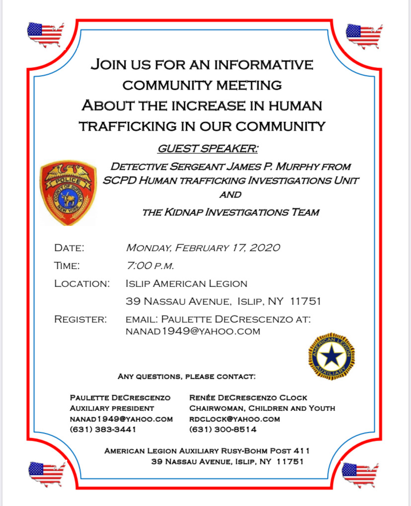 a flyer announcing the 7pm meeting on February 17th at the Islip American Legion located at 39 Nassau Avenue in Islip, call 631-383-3441 for more information
