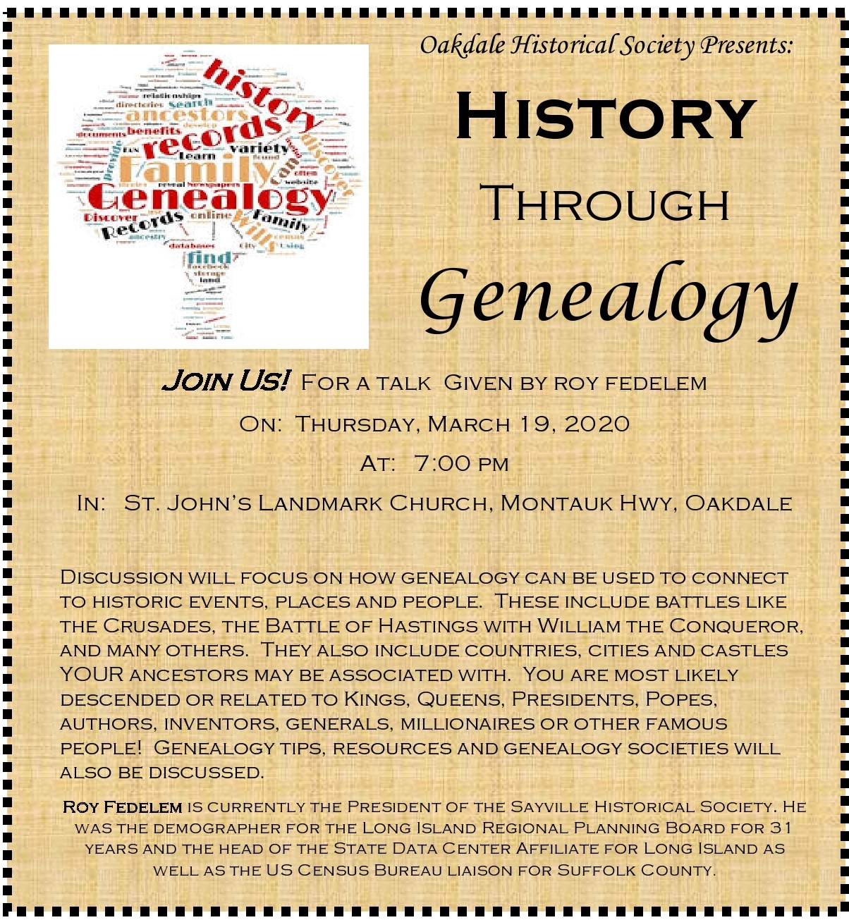 A flyer announcing the March 19th, 7pm Historical Talk at St. John's Landmark Church. Details in the article