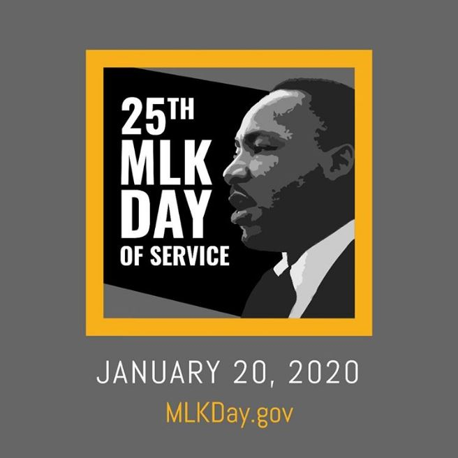 A Banner image with Dr. King's profile, the 1/20/2020 date, the 25th Day of Service call to action and the website MLKDAY.gov