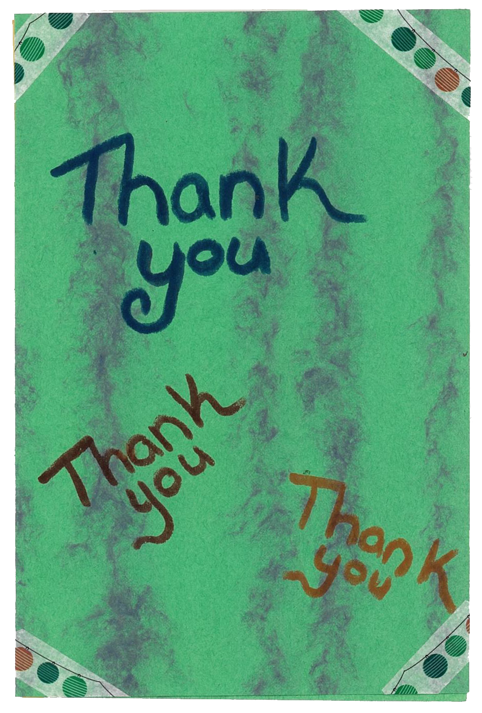 The exterior of the hand written card from Outreach families. The words on the front read 'thank you' 3 different times.