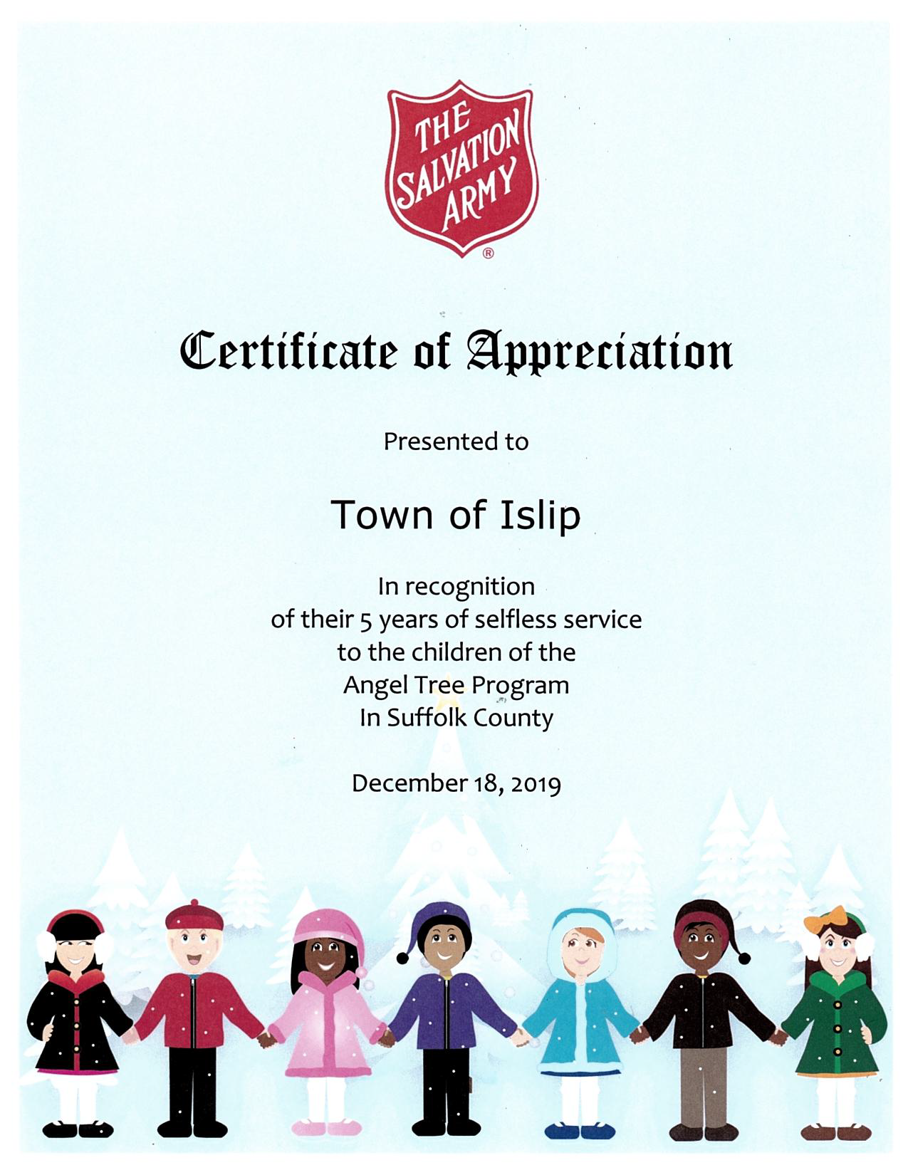 A certificate of appreciation from the Salvation Army for Town of Islip's 5 years of dedication and support.
