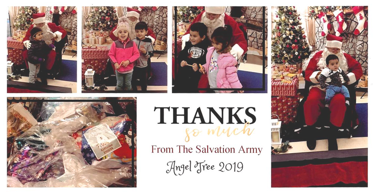 A postcard of from the Salvation Army of children, smiling with Santa Clause.