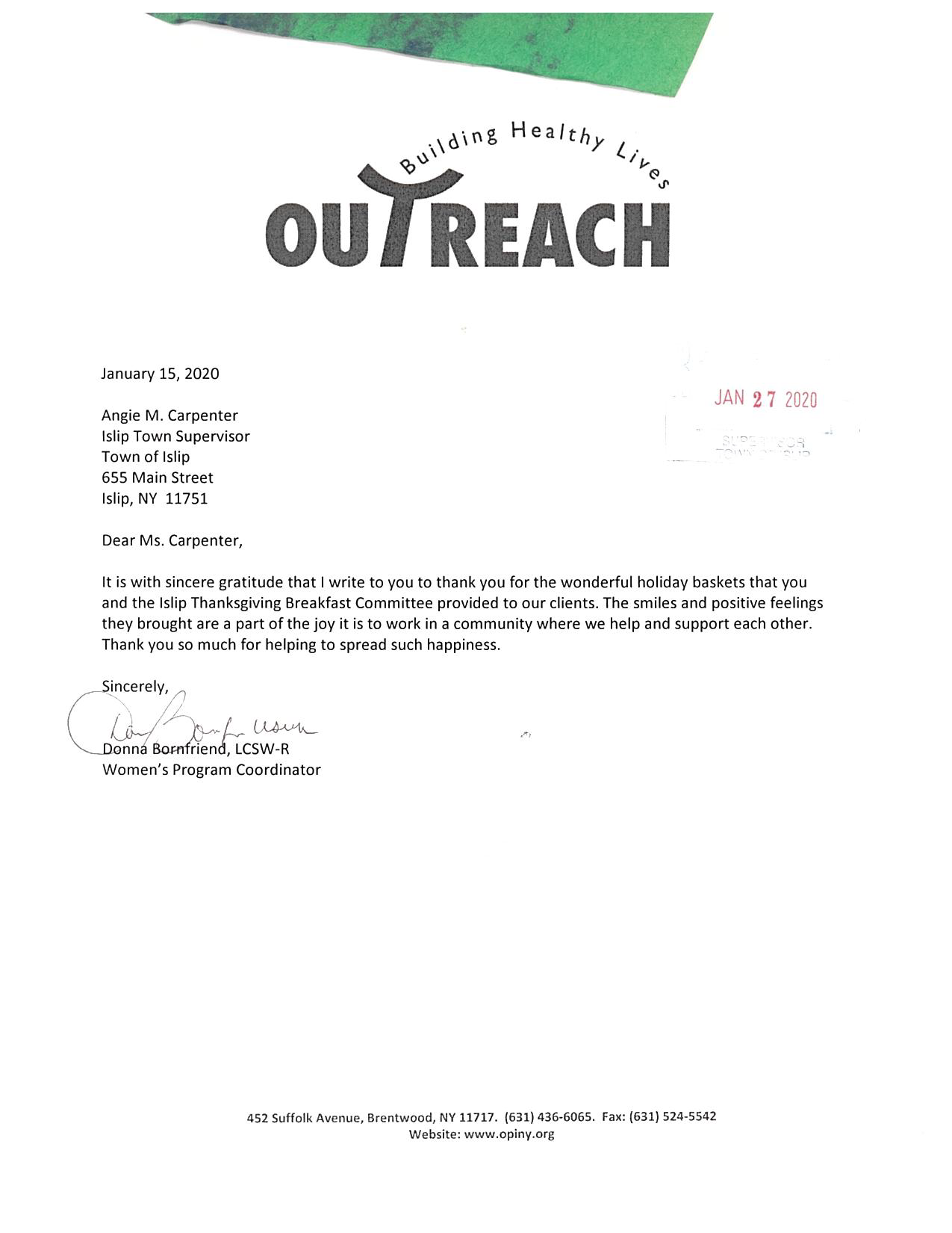 A letter of thanks from Outreach, for Town of Islips involvement in collecting holiday baskets for thanksgiving.