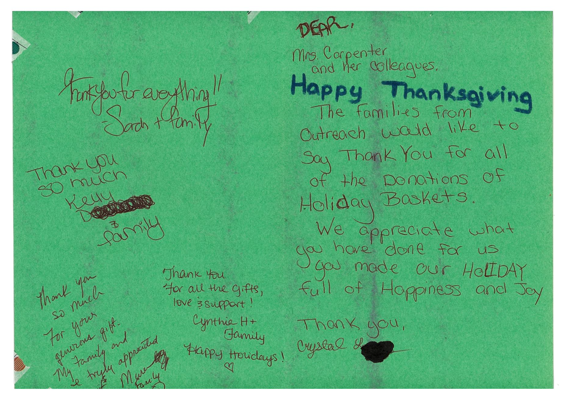 the interior of a hand written card from the families of Outreach, thanking the Town of Islip and Supervisor for their support and donations.