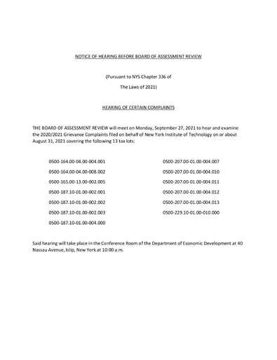 NOTICE OF HEARING BEFORE BOARD OF ASSESSMENT REVIEW