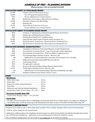 Fee Schedule for the Planning Division