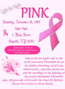 A flyer announcing the breast cancer benefitting event on Saturday, November 16th. Details in article.