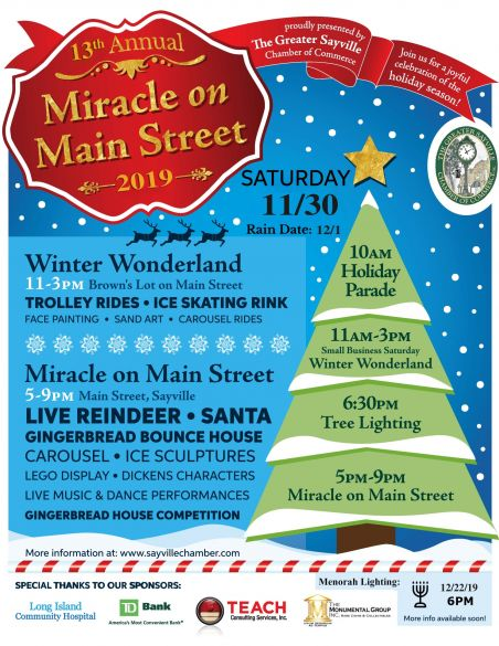 A flyer announcing the 13th annual miracle on main street event. Details in the article.