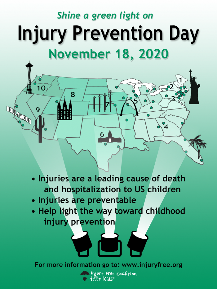 shine a green light on November 18th, 2020 in awreness of injury prevention day