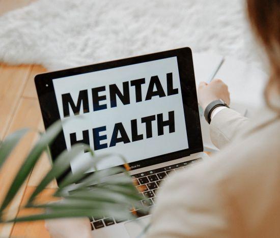 mental health on a laptop