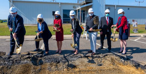 Supervisor Carpenter and dignitaries break ground with shovels