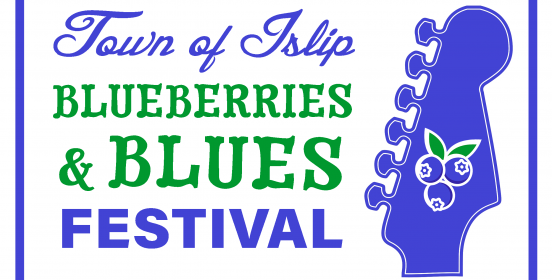 The head of a guitar with a busshel of blueberries on it, and the words Town of Islop Blueberries and Blues Festival.