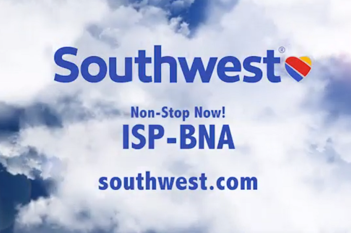 Southwest Airlines Launches Non-Stop flights to Nashville from Long Island MacArthur Airport