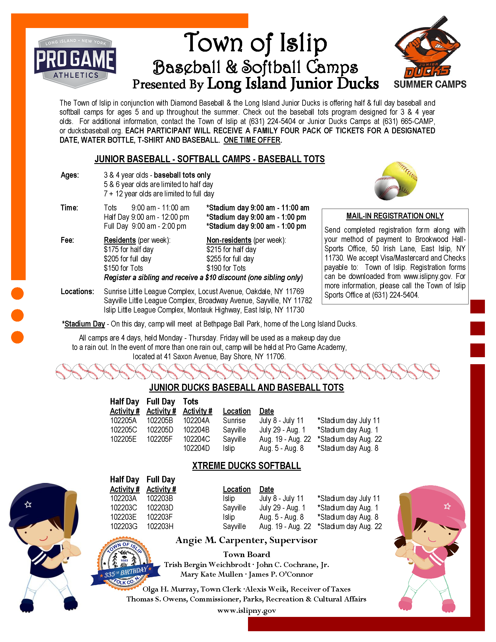a flyer announcing the 2019 baseball camp, call (631) 224-5404 for more information.
