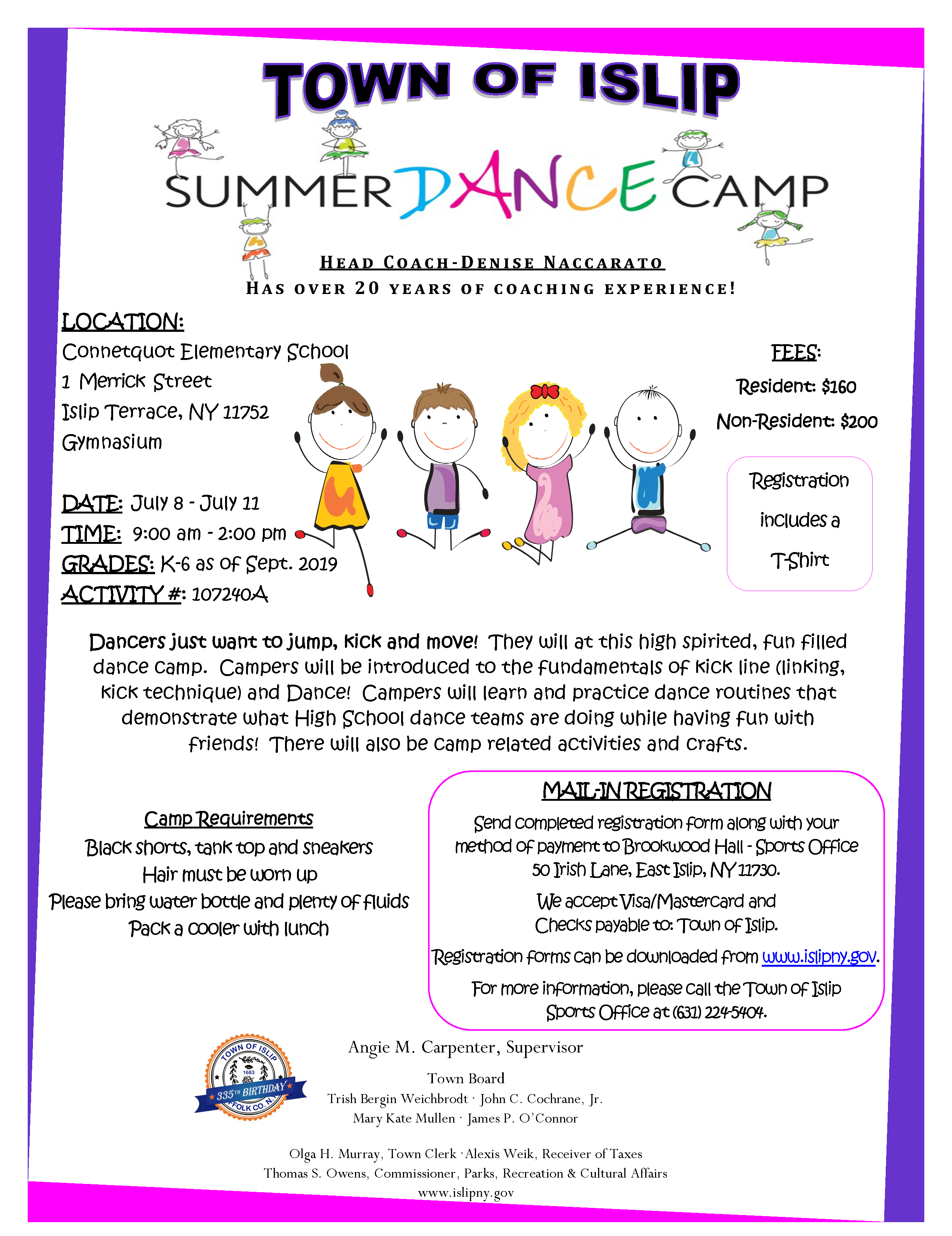 a flyer announcing the 2019 summer dance camp, call (631) 224-5404 for more information.