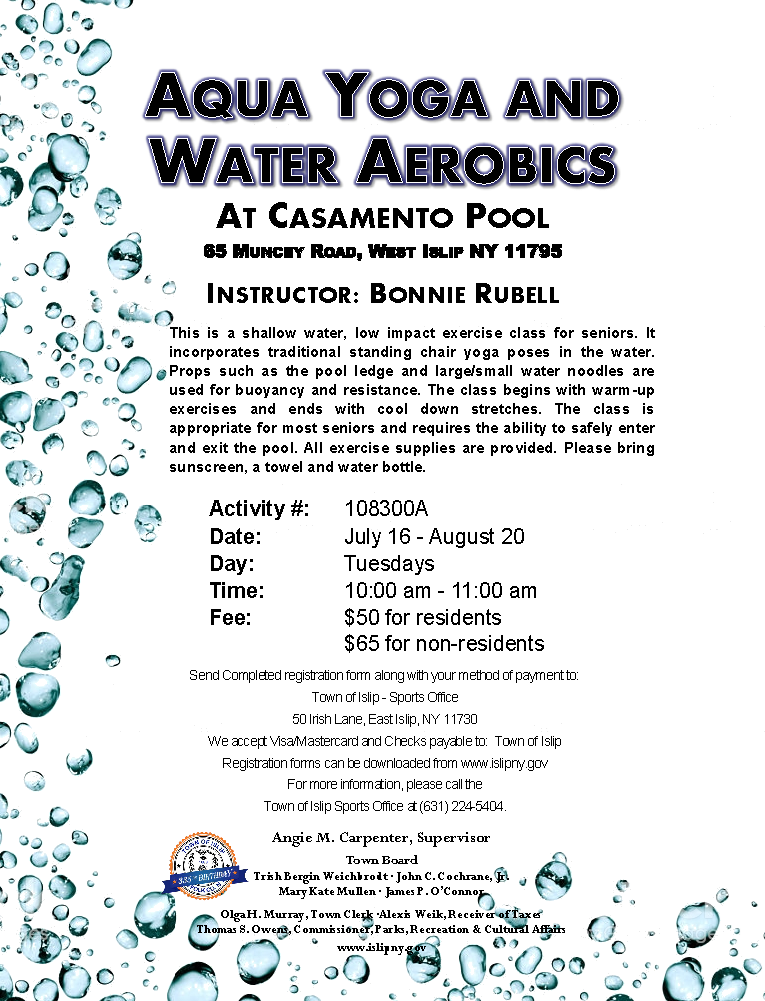 Flyer announcing aqua yoga and water aerobics course, call (631) 224-5404 for more information.