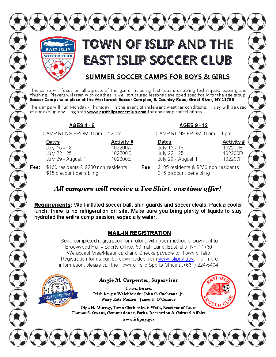 a flyer announcing the 2018 girls and boys summer soccer camp, call (631) 224-5404 for more information.