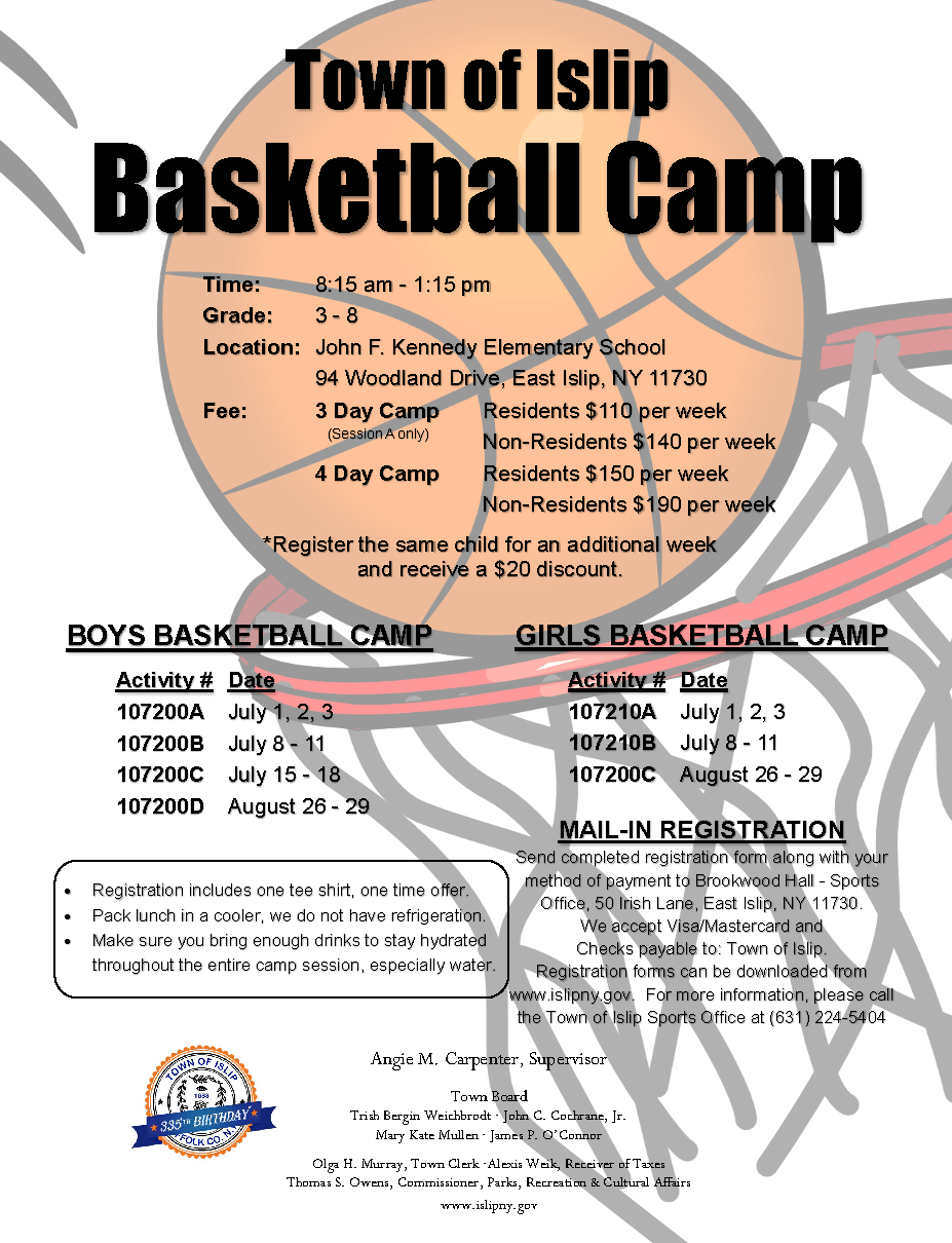 flyer announcing 2019 summer basketball camp,  call (631) 224-5404 for more information.