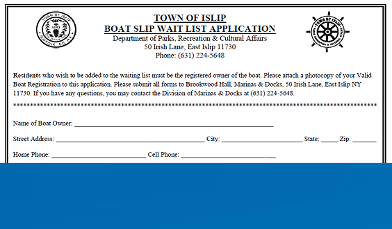 A snap shot of the top of the application form